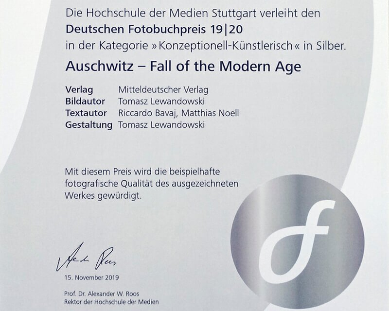 Auschwitz Fall of the Modern Age awarded in Silver from Deutscher Fotobuchpreis